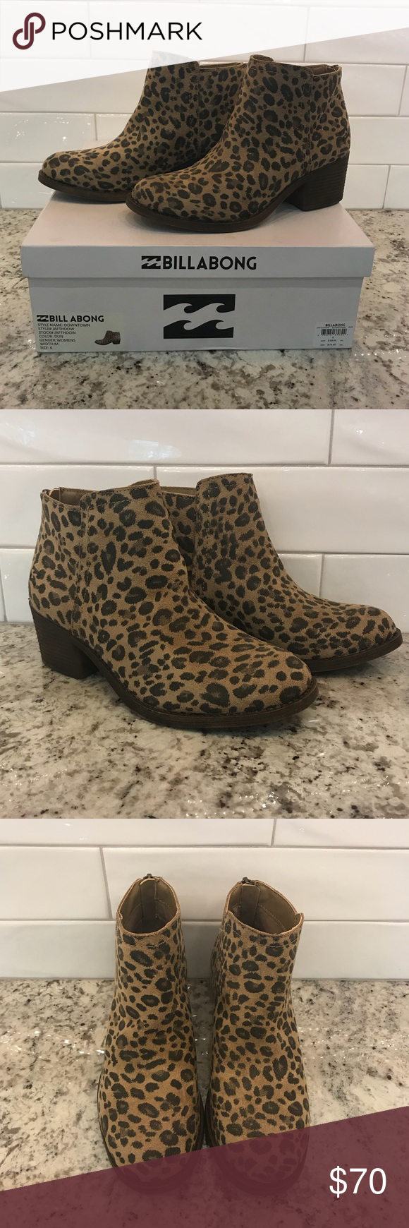 63f4e0689f05 [Billabong] Downtown Leopard Suede Zip Ankle Boots [Billabong] Downtown  Leopard Print Suede Zip Back Ankle Boots. So perfect for fall! New in Box!