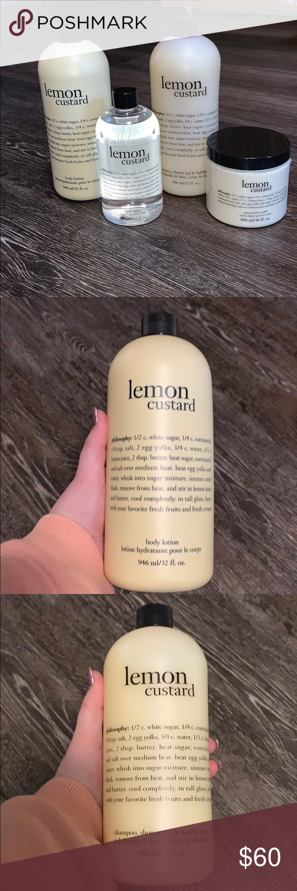 Lemon Custard Philosophy Pack This Pack Contains The Body Spritz The Glazed Body Souffle The Shampoo This Bottle Can Also Lemon Custard Custard Body Lotion