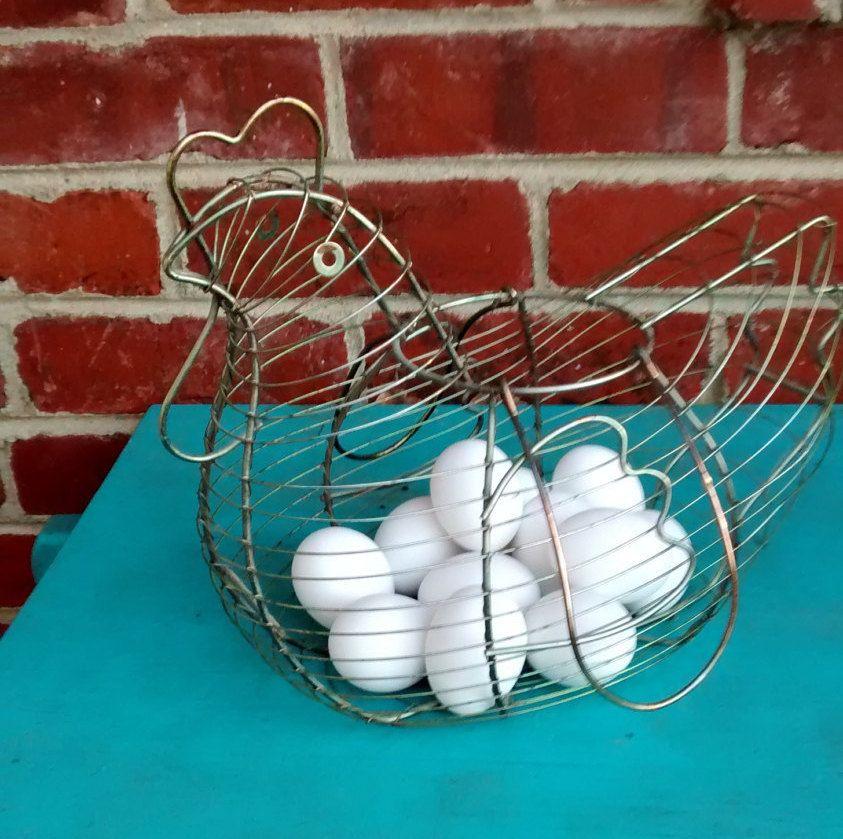 Chicken egg basket wire basket chicken shaped egg gathering basket ...