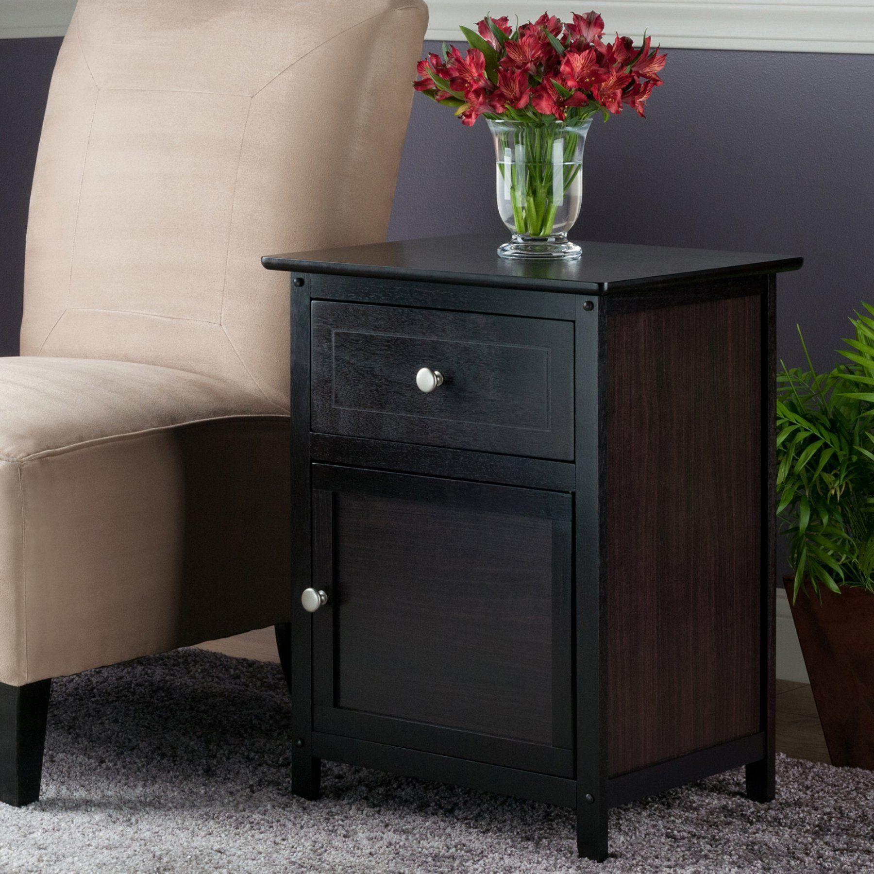 Winsome Trading Espresso End Table With 1 Drawer And Cabinet