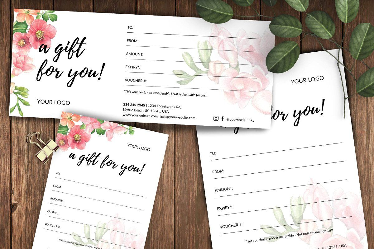 Floral Gift Voucher Id2 Printable Gift Certificate Gift Card Template Diy Gift Card