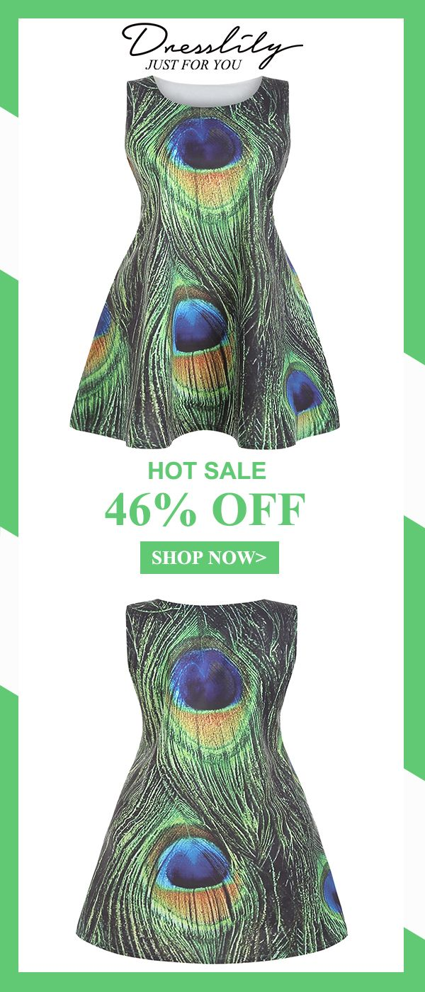 003df6af968 Digital Print Sleeveless Round Neck Peacock Feather Dress.Extra 12% off  code DL123