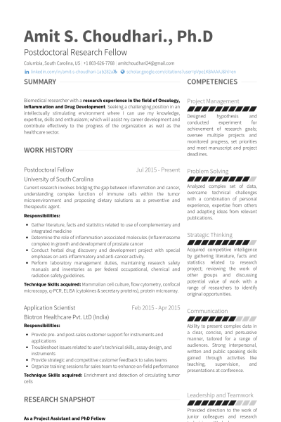 postdoctoral fellow resume example