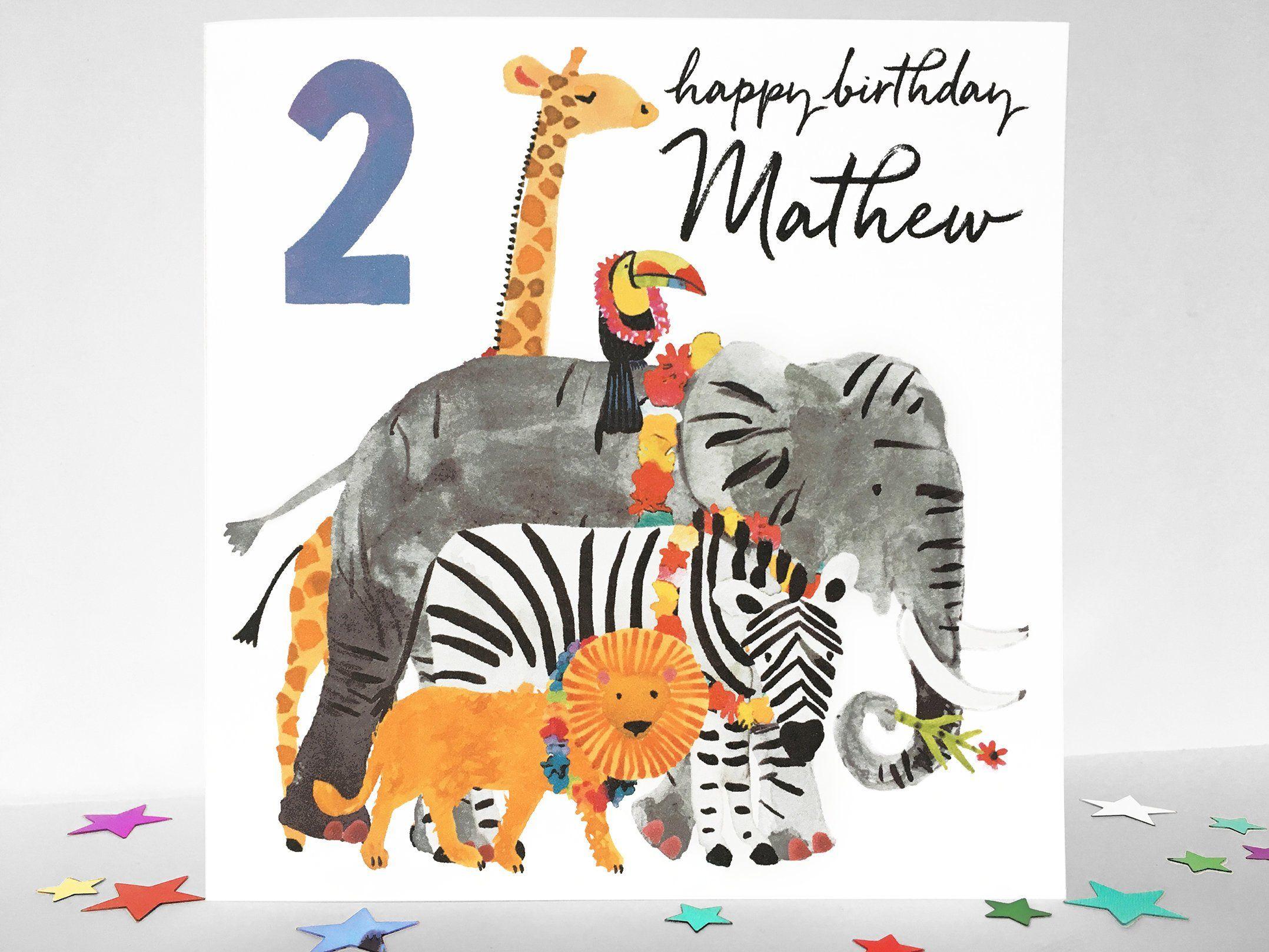 Personalised Wild Animal Birthday Card Giraffe Toucan Elephant