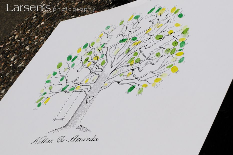 """thumbprint """"guest book"""" with the couples wedding date hidden in the branches"""