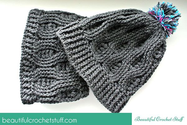 d2959ca88fd Crochet Infinity Scarf and Crochet Beanie Free Pattern