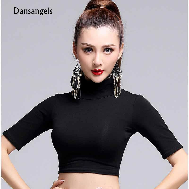 c7b3652ab56 Dansangels Modern turtleneck Half sleeve sexy Latin Dance clothes top for  women female Ballroom Costume performance wear MD6210