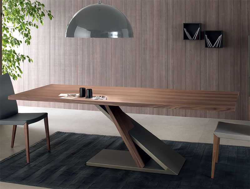 Compar Contemporary Zed Dining Table In Walnut And Bronzed Metal