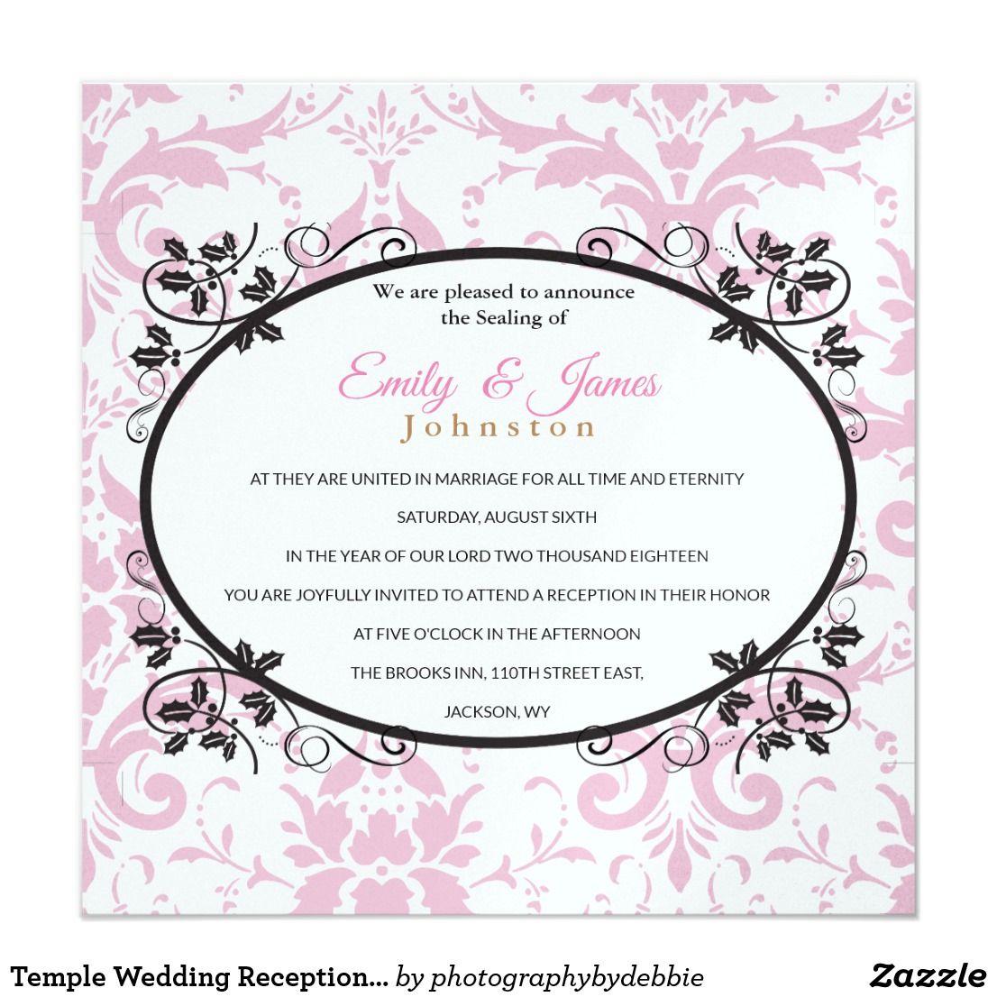 Temple Wedding Reception Invite Pink Coronation Zazzle Com