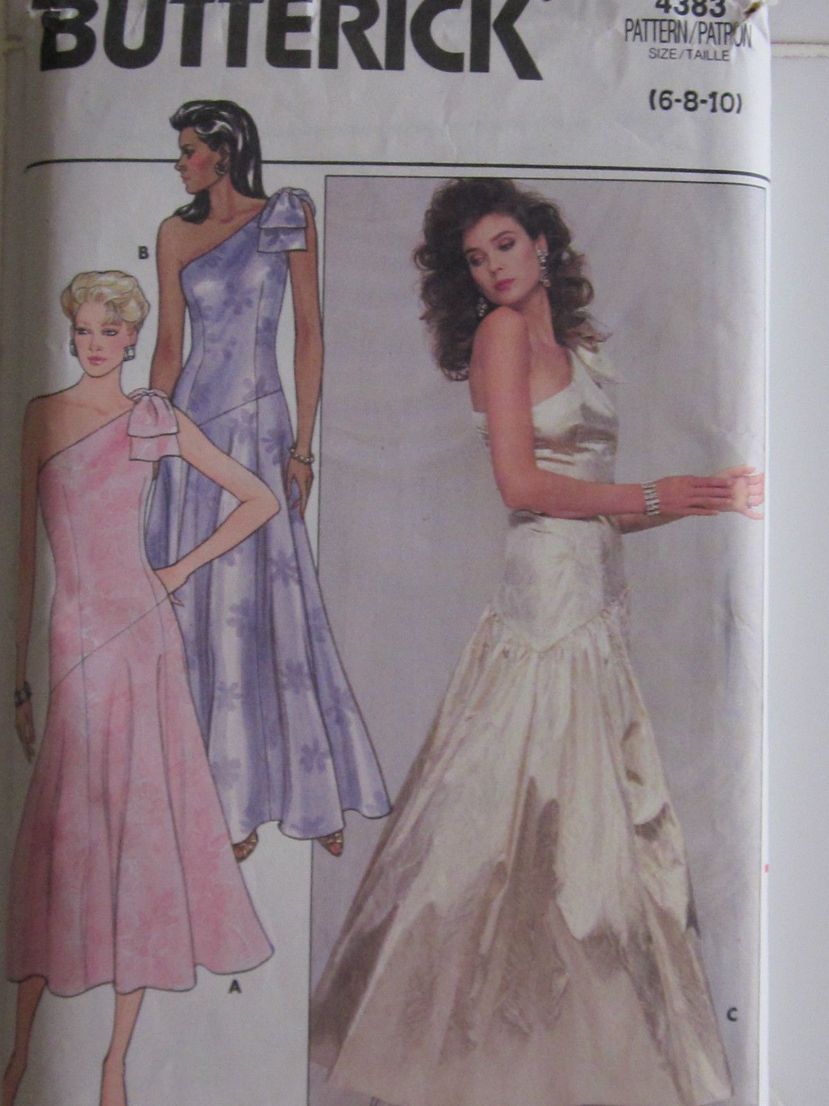 Butterick 4383 misses evening prom dress one shoulder pattern cut butterick 4383 misses evening prom dress one shoulder pattern cut to size 8 used jeuxipadfo Image collections