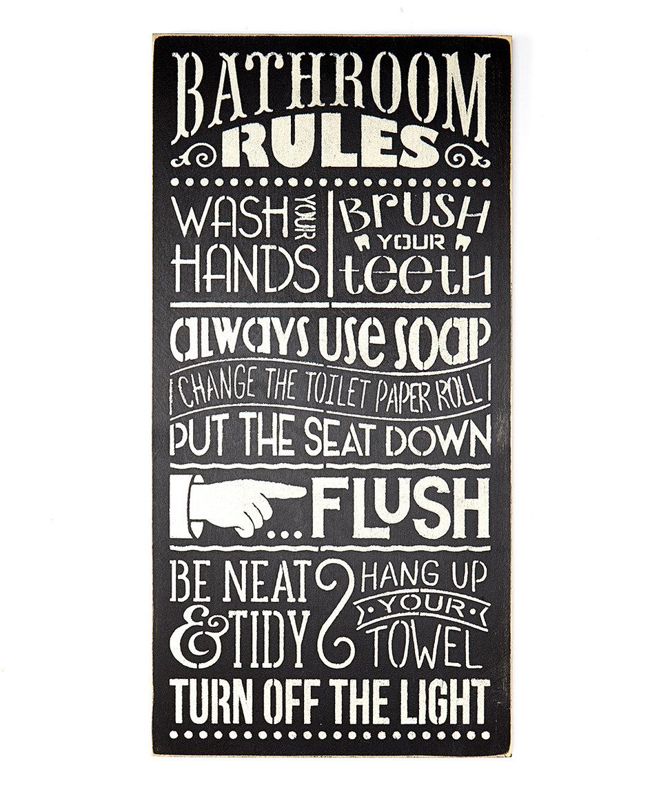look what i found on #zulily! 'bathroom rules' wall sign