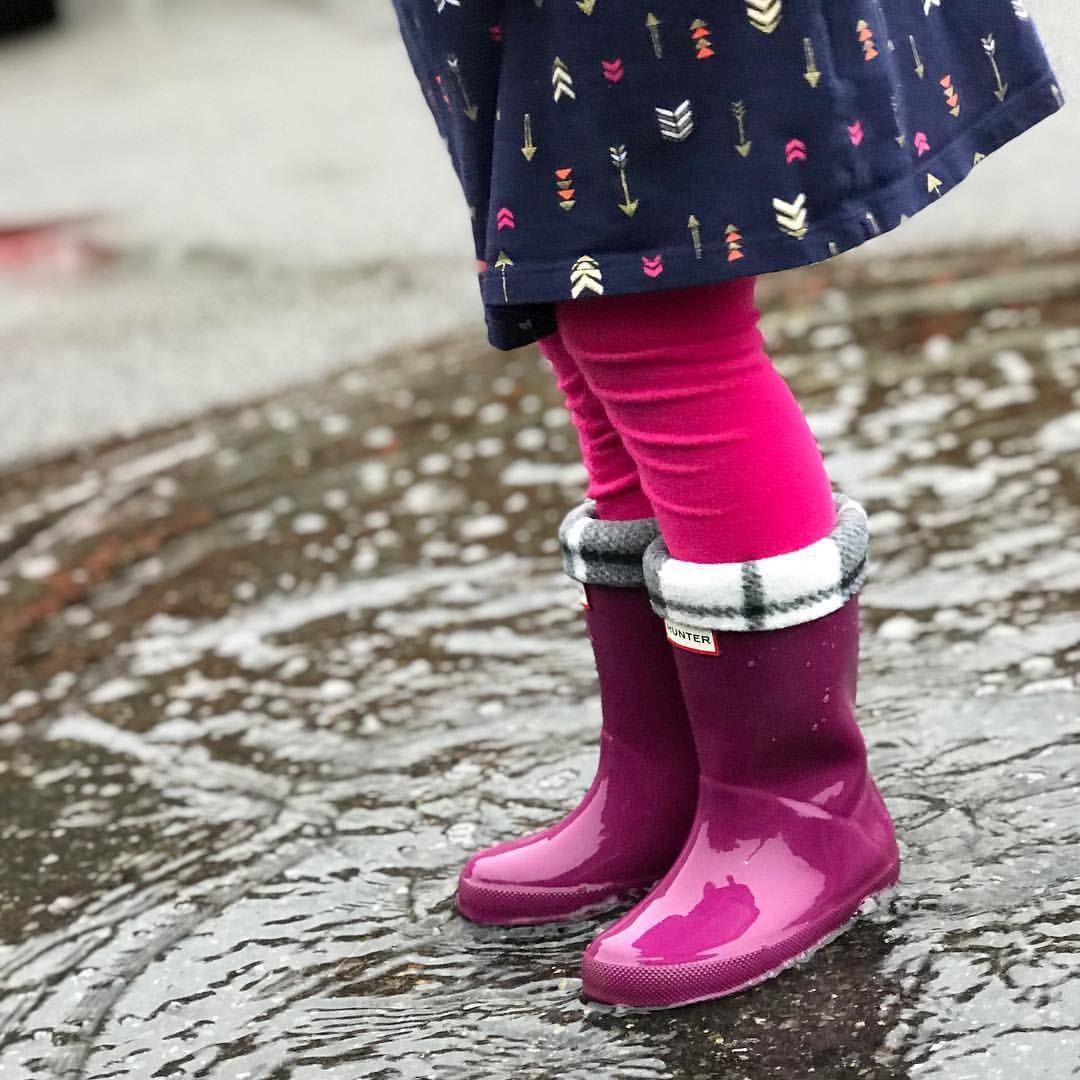 b74b781265e Kids Hunter boots with SLUGS Fleece Rain Boot Liners.   Hunter Rain ...