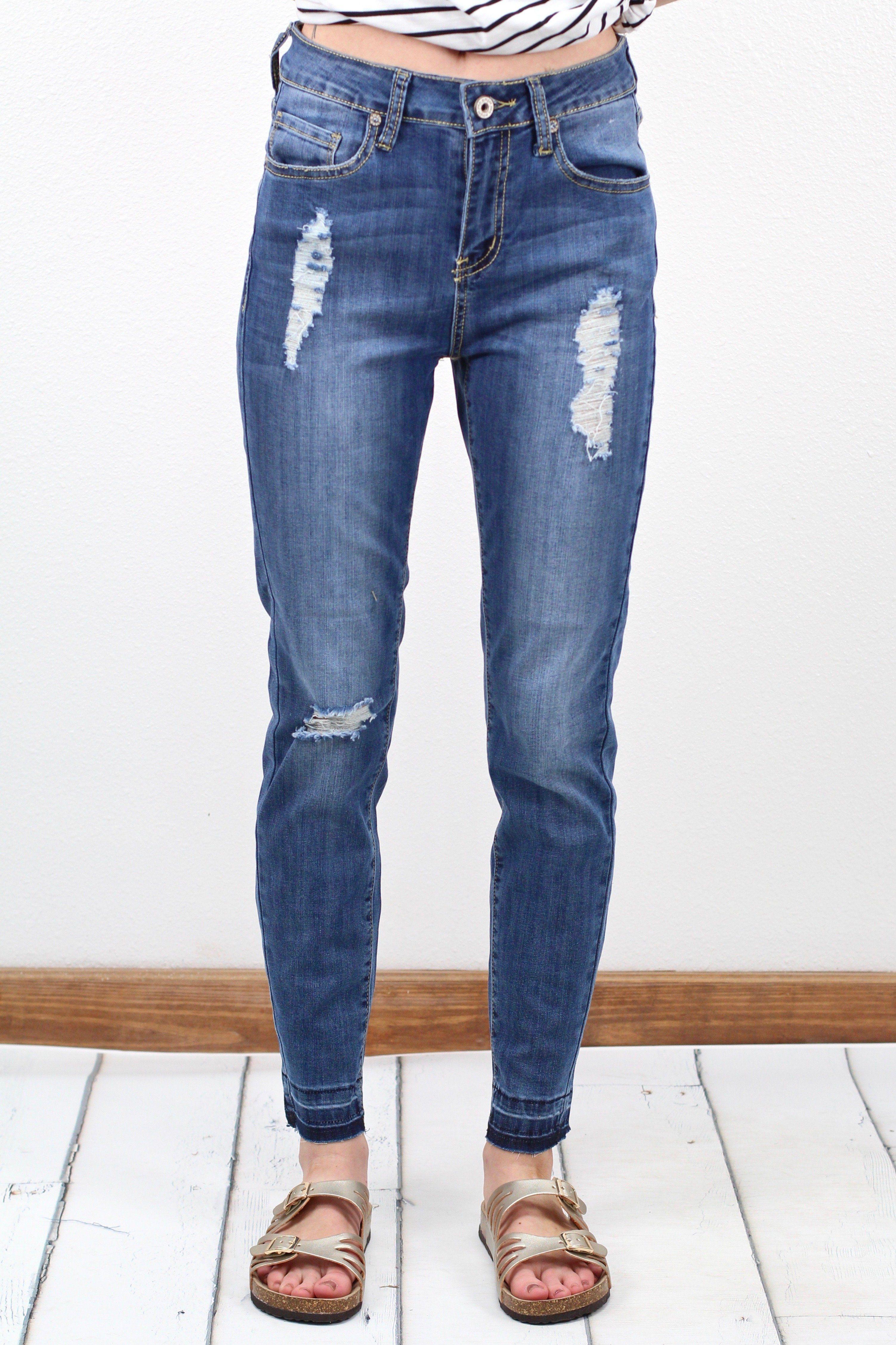 Umgee Distressed and Raw Hem Jeans