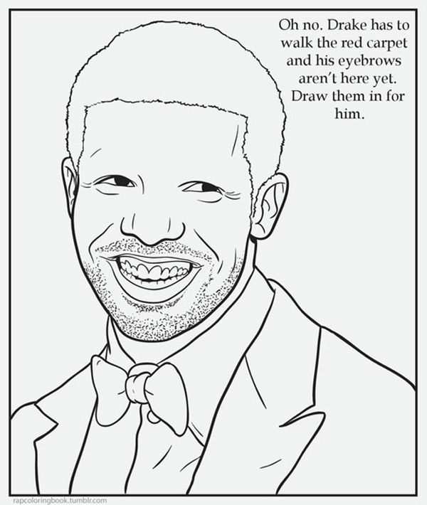 Give Drake Back His Missing Eyebrows With The Rap Coloring Book
