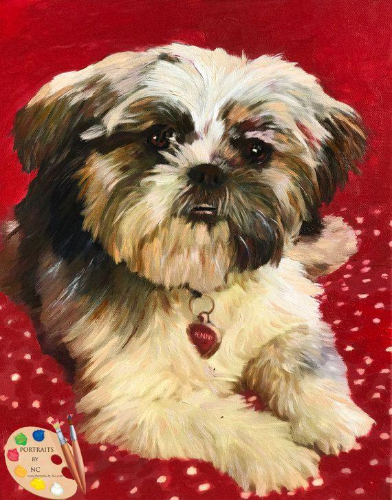 Shih Tzu Portrait Shih Tzu Custom Dog Portrait Shih Tzu Custom Dog Portraits Oil Portrait Shih Tzu