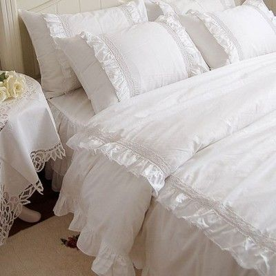 W Stylu Shabby Chic Sliczna Poduszka Walek Bielus 6950081695 Oficjalne Archiwum Allegro Bed Comforter Sets Queen Bedding Sets Ruffle Duvet Cover