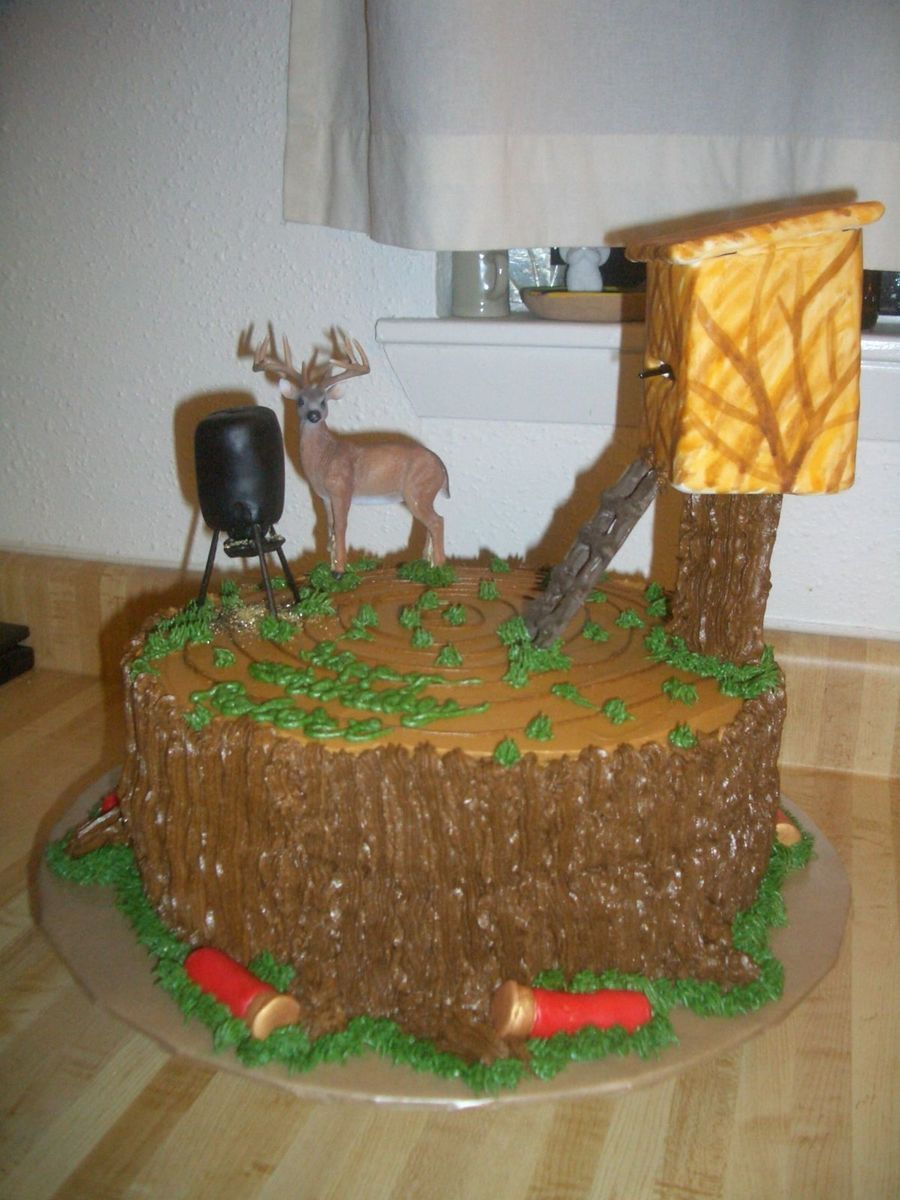 Deer Hunting On A Tree Stump Hunting Birthday Cakes