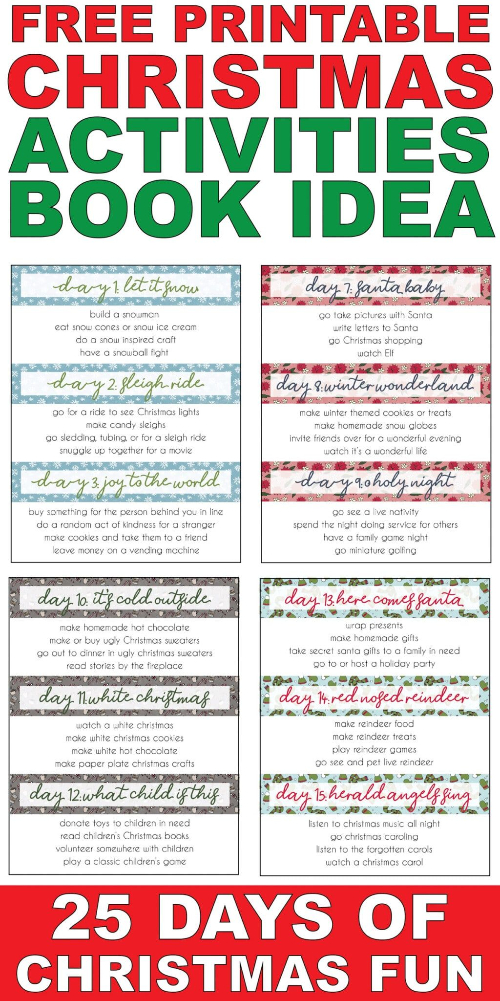 Free Printable 25 Days of Christmas Activities Book (100+