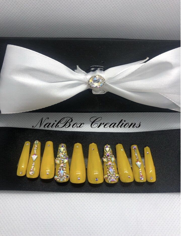 Press on nails yellow nails with Swarovski stones coffin | Etsy