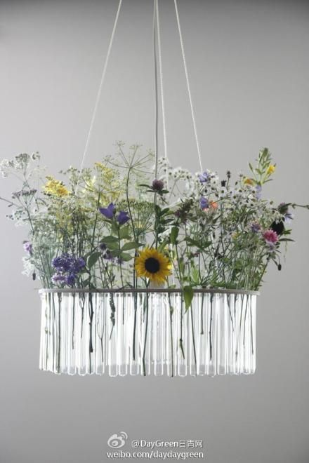 Fresh flower chandelier!! Test tubes, but what kind of base/holder? Any ideas, anyone?