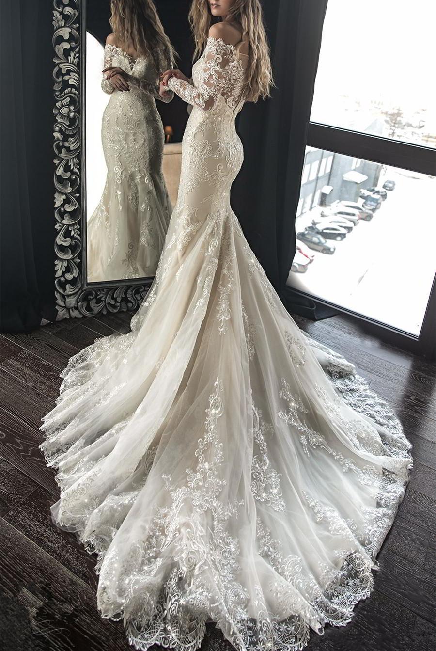 Vintage Mermaid Lace Wedding Dress Off Shoulder Long Sleeves Bridal Dress Sweep Train Wedding Gown Bridal Dresses Lace Long Sleeve Bridal Dresses Long Wedding Dresses [ 1343 x 900 Pixel ]