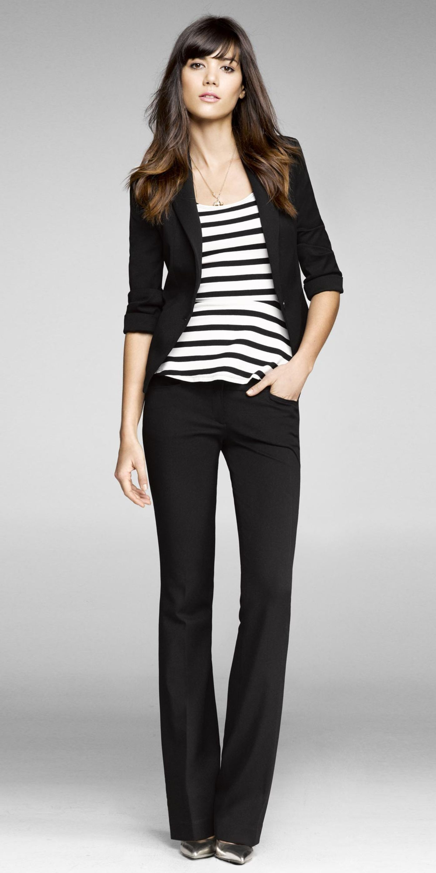 Black slacks, black blazer and striped top | Hair ...