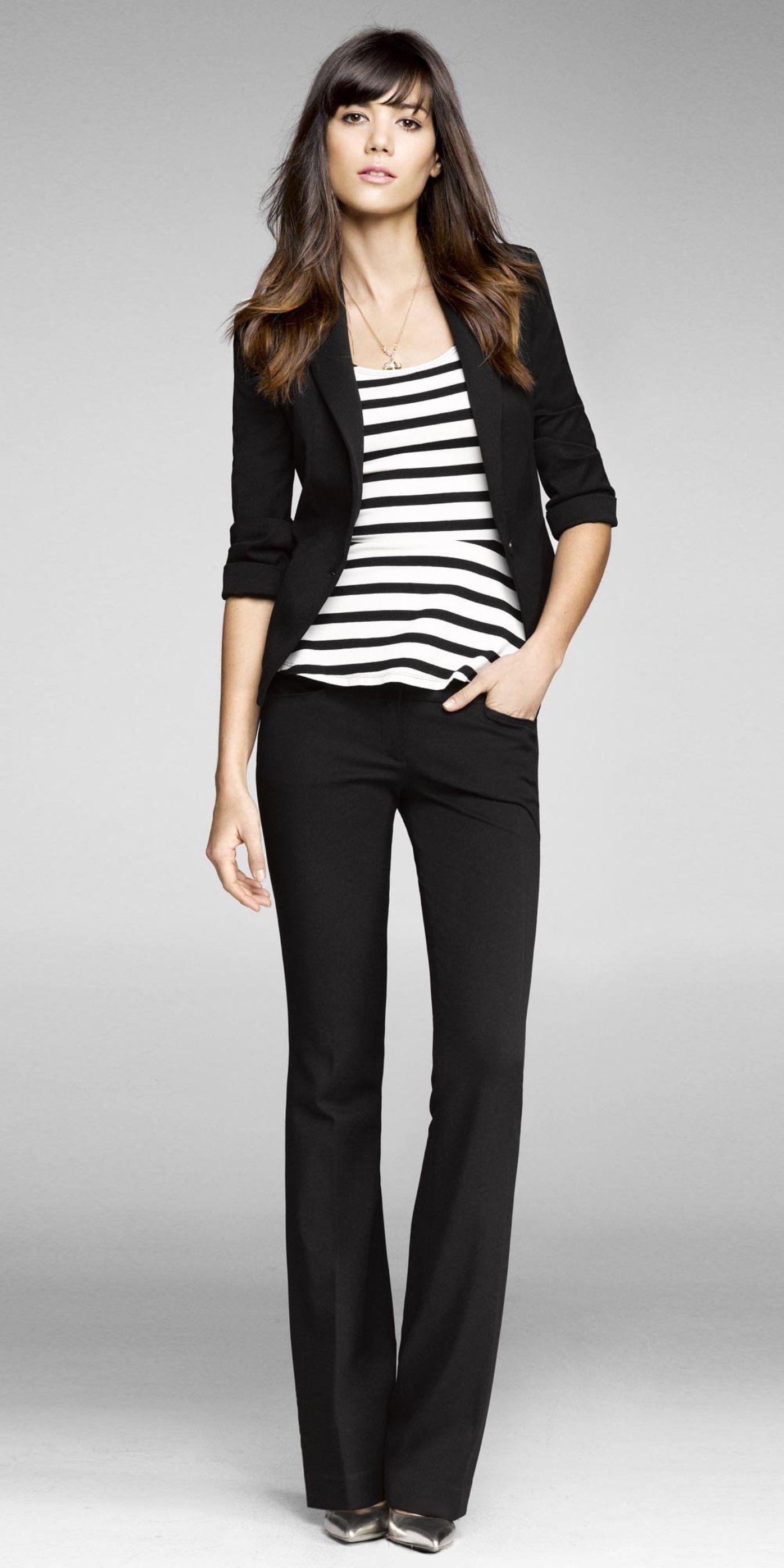 Black slacks, black blazer and striped top