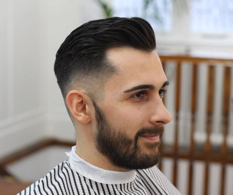 Mid Fade Brushed Back Hair Haircuts For Receding Hairline Cool Mens Haircuts Hairstyles For Receding Hairline