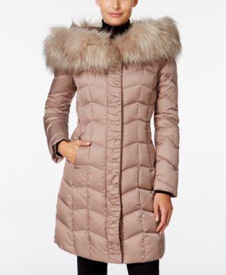 T Tahari Faux Fur Trim Hooded Puffer Coat Macys Com
