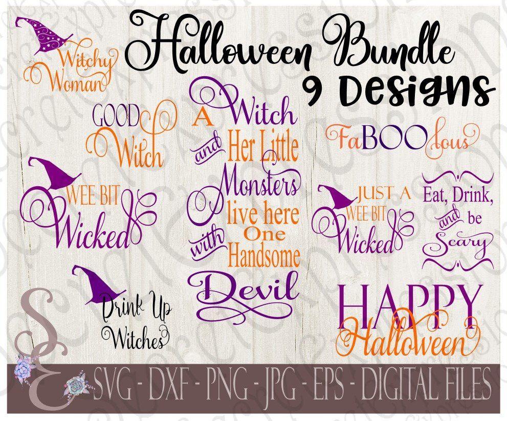 Halloween SVG Bundle, Fall, Autumn, 9 Digital SVG Files