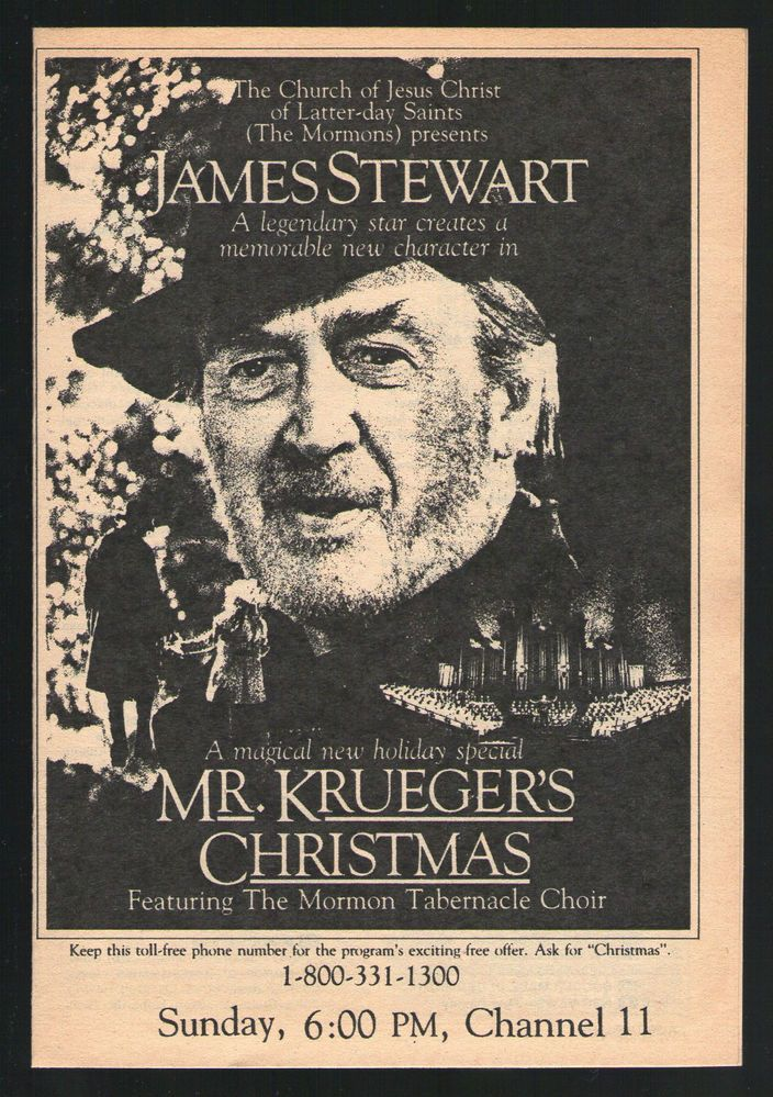 1980 tv ad ~ James Stewart in Mr.Kruegers Christmas ~ The Mormons ...