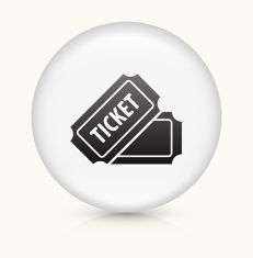 Ticket icon on white round vector button vector art illustration