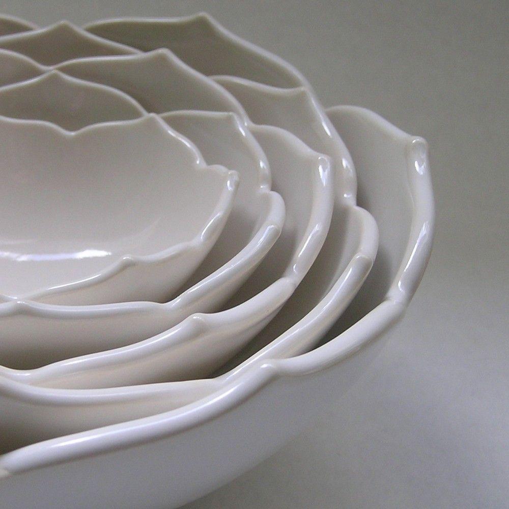 White nesting lotus bowls. Lovely.