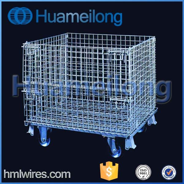 Zinc Plated Stackable Foldable Metal Wire Storage Stillage Bins With Wheels For Sale Steel Cage Wire Mesh Wire Bins