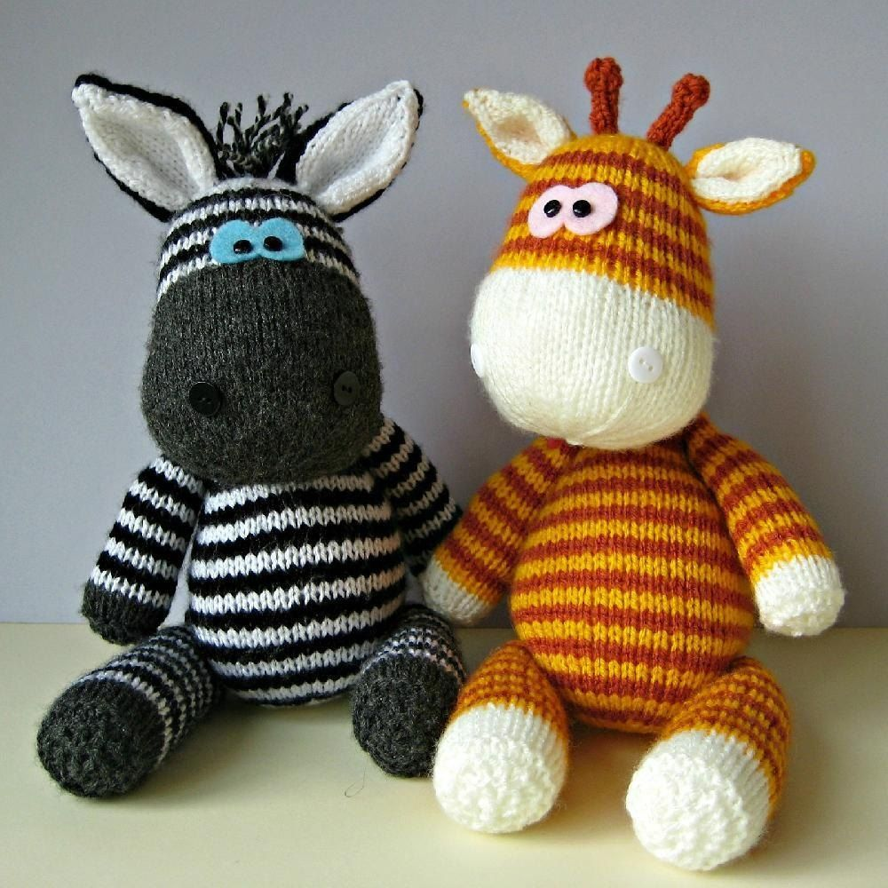 Gerry and Ziggy are the best of friends, and are looking for a new home. If you would like to adopt them, you can knit your own giraffe and zebra pals with this knitting pattern.THE PATTERN INCLUDES: Row numbers for each step so you don't lose your place, instructions for making the zebra and giraffe, plus 19 photos, a list of abbreviations and explanation of some techniques, a materials list and recommended yarns.TECHNIQUES: All pieces are knitted flat on a pair of straight knitting need...