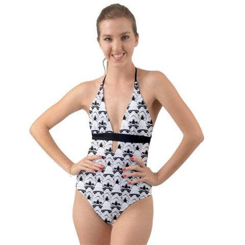 4efb25adfa Stormtrooper Helmet Print Tie Back Halter Cut-Out One Piece Swimsuit- Star  Wars Inspired Summer 2018 Swimwear - Black   White Bathing Suit