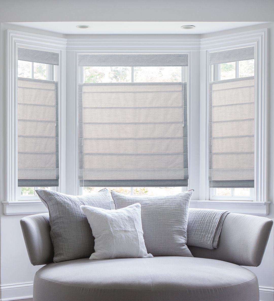 Bay window blinds - Top Down Bottom Up Plain Classic Pleated Roman Shades In Brie