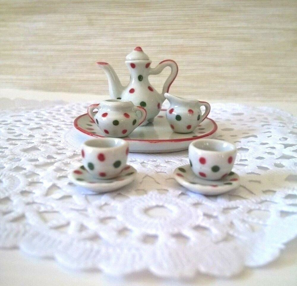 Set Tea Pot Lovely Valentine Festival Ceramic Dolls Miniatures Tableware Decor