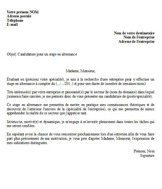 Lettre De Motivation Pour Un Stage En Alternance Modele Et Conseils Lettre De Motivation Stage Modele Lettre De Motivation Exemple Lettre Motivation