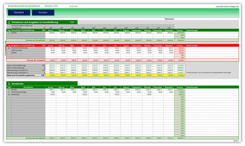 Kostenkontrolle Haushaltsbuch 2 03 Haushaltsbuch Haushaltsbuch Excel Vorlagen Word