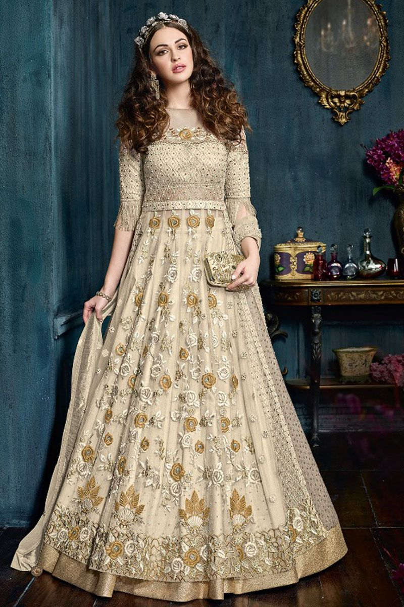 56b86e36c7c Beige Color Fancy Wear Net Fabric Heavy Embroidered Party Wear Look Stylish  Bollywood Designer Fashion Indian Wedding Wear Beautiful Gown Style Anarkali  ...