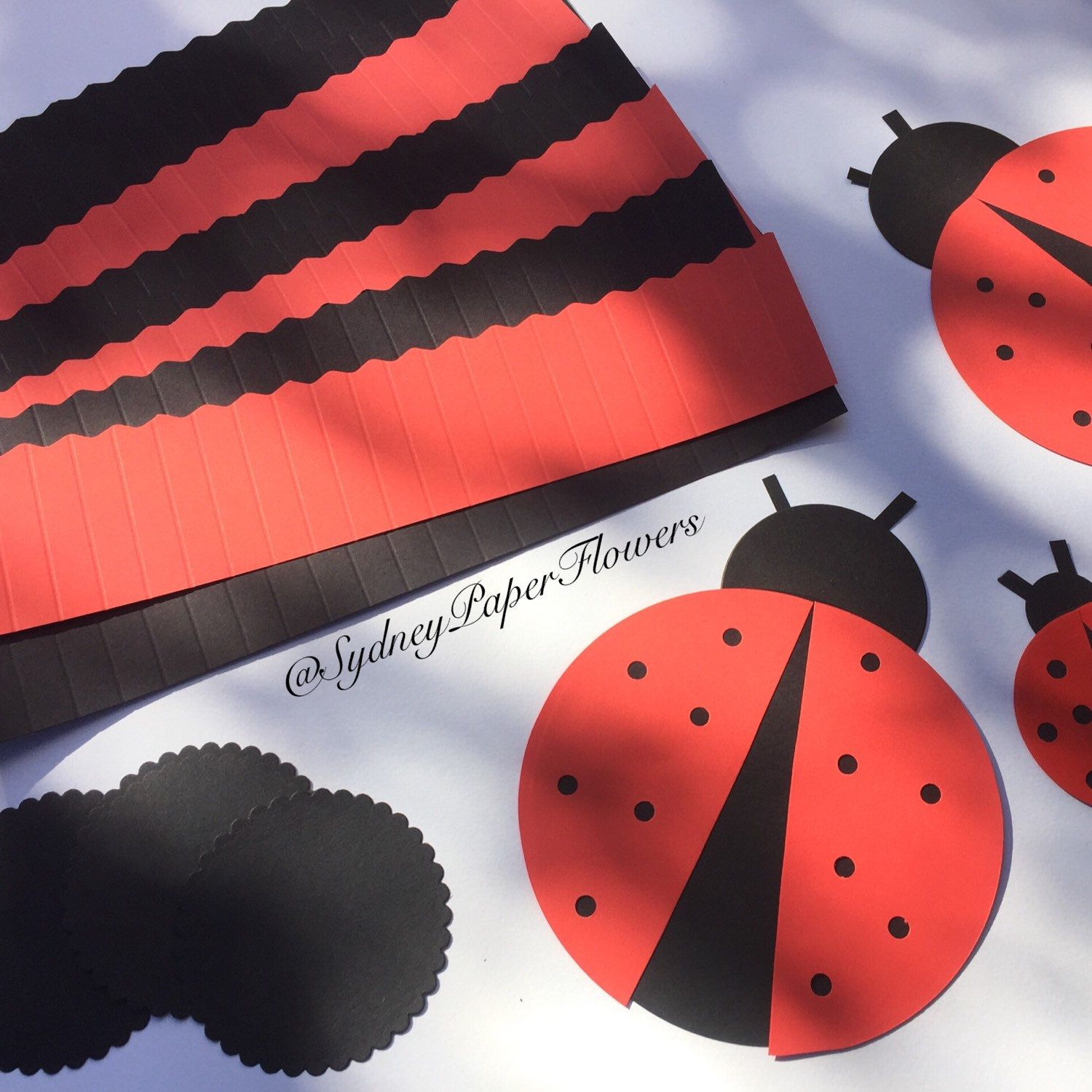 DIY backdrop - set of 20 paper fans for LADY BUG party  Get ready for Easter and school holidays with our DIY 20 paper rosettes set! Create a backdrop!