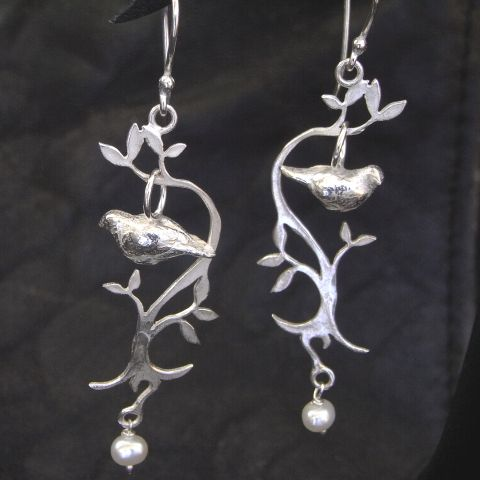 Silver Love Dove Drop Earings