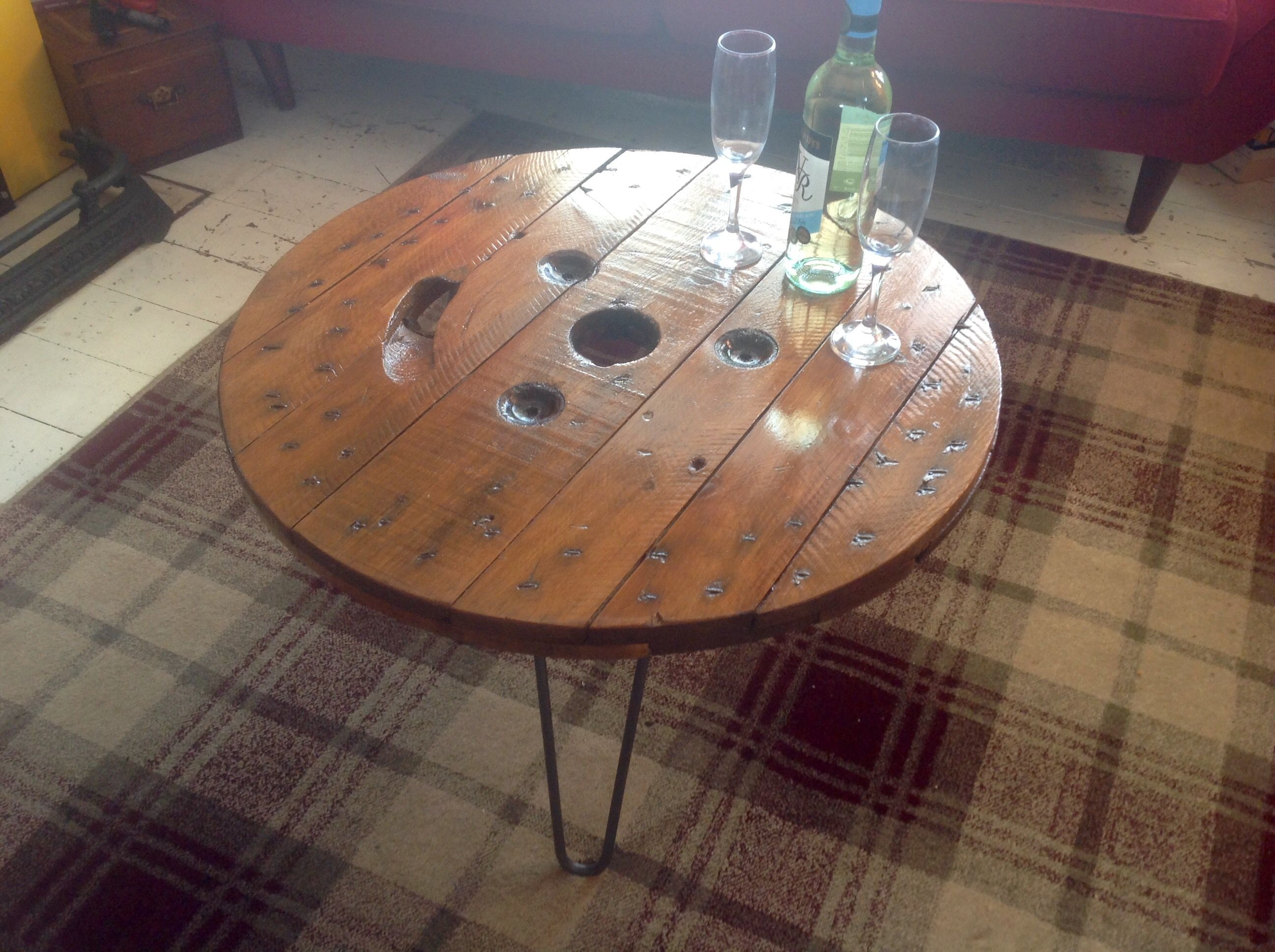 Industrial Coffee Table Reclaimed Cable Reel Top And Hairpin Legs