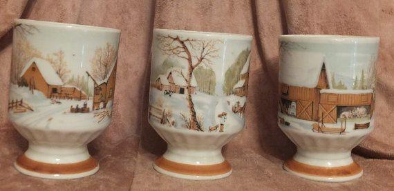 3 Winter Farm Scene Stacking Pedestal Coffee Mugs Vintage Cups