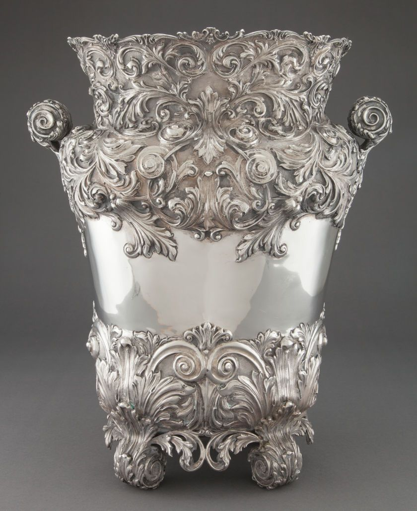 A MONUMENTAL CONTINENTAL SILVER VASE WITH LINER. Maker unknown,probably Italy, circa 1950. Marks: (effaced maker's mark),