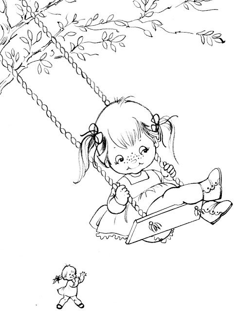 Girl On A Swing Coloring Book Tina Coloring Book Bonnie Jones