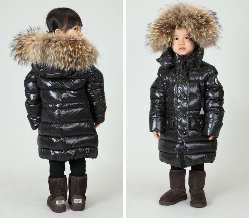 2014 winter baby down coat big boy coat medium-long down black large fur  collar