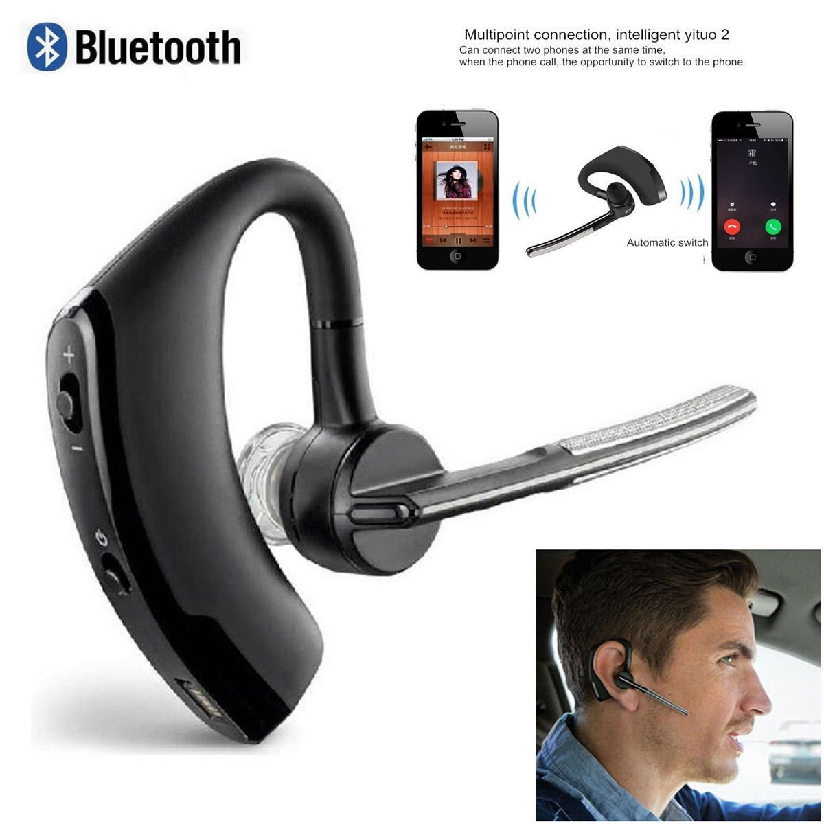 Wireless Bluetooth Stereo Noise Canceling Headset Headphone
