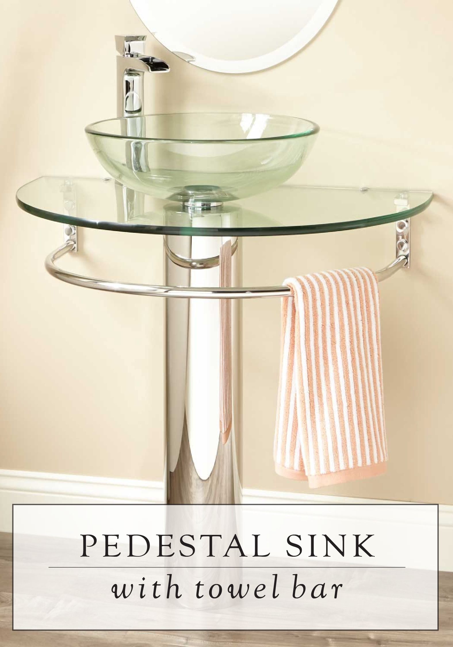 The Design Of This Glass Pedestal Sink Is Modern And Functional